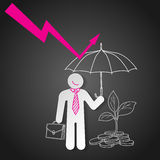 Businessman holding umbrella protect graph down. Economic crisis Royalty Free Stock Images