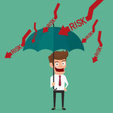 Businessman holding umbrella protect risk. Stock Image