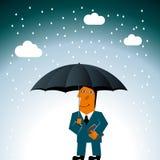 Businessman holding umbrella. stock illustration