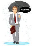 Businessman holding umbrella walking sad to work with speech bubble with monday text message Royalty Free Stock Photo
