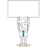 Businessman holding up blank sign Stock Images