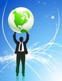 Businessman Holding up Globe on Internet Background Royalty Free Stock Photo
