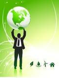 Businessman Holding up Globe on Internet Background Royalty Free Stock Photos