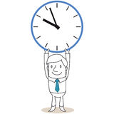 Businessman holding up huge clock. Vector illustration of a monochrome cartoon character: Businessman holding up huge clock Royalty Free Stock Photos