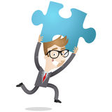 Businessman holding up jigsaw piece. Vector illustration of a happy cartoon businessman running and holding up a blue jigsaw piece Royalty Free Stock Photo
