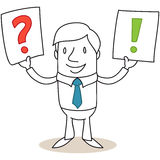 Businessman holding up signs with question mark ex Royalty Free Stock Photography