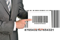 Businessman holding UPC code Royalty Free Stock Photography