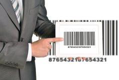 Businessman holding UPC code Royalty Free Stock Photography