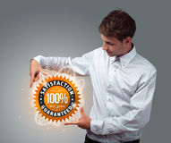 Businessman holding virtual business sign Royalty Free Stock Image