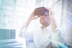 Businessman holding virtual glasses Royalty Free Stock Photos