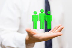Businessman is holding virtual wining team, staffing and human r Stock Photography
