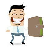 Businessman is holding a wallet. Funny businessman holding a wallet Royalty Free Stock Photo