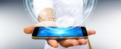 Businessman holding hologram sphere 3D rendering. Businessman holding white and blue hologram sphere over mobile phone 3D rendering Stock Images