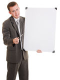 Businessman holding a white board. Businessman with a white board in his hands on a white background Stock Photography