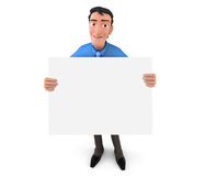 Businessman holding white board Royalty Free Stock Image
