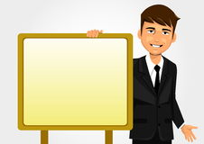 Businessman holding white board. Businessman holding and showing whiteboard Stock Photos