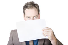 Businessman Holding White Paper Stock Image