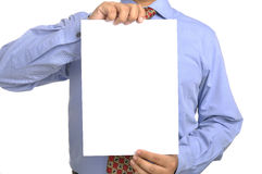 Businessman holding white paper Stock Photography