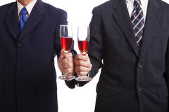 Businessman holding wine Royalty Free Stock Photos