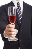 Businessman holding wine Royalty Free Stock Photo