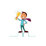 Businessman holding winning trophy. Stock Image