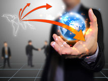 Businessman holding world. Connected concept Royalty Free Stock Image