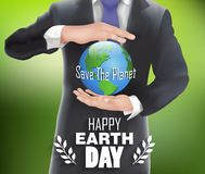 Businessman holding the world in hand with green background. Illustration of Businessman holding the world in hand with green background Royalty Free Stock Photo
