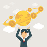 Businessman holding the world in his hands. Flat Design Vector Illustration: World economy concept Stock Photos