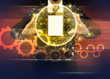 Businessman holding world technology mobile phone Royalty Free Stock Image