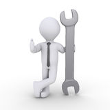 Businessman is holding a wrench. 3d happy businessman is holding a wrench Stock Image