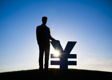 Businessman Holding Yen Currency Stock Images