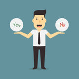 Businessman holding yes and no sign Stock Photography