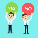 Businessman holding Yes or no sign vector Royalty Free Stock Photos