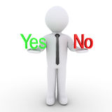 Businessman holding Yes and No words. 3d businessman is having on his hands the Yes and No words Stock Photos