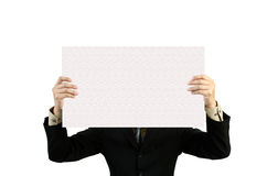 Businessman holds blank signs. Stock Photo