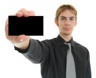 Businessman Holds Business Card Royalty Free Stock Photos