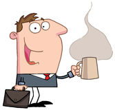 Businessman holds cup of coffee. Perky businessman with a briefcase and cup of hot and steany caffeinated coffee, heading to his office stock illustration