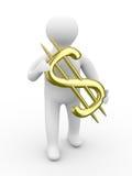 Businessman holds dollar on white background Stock Photos