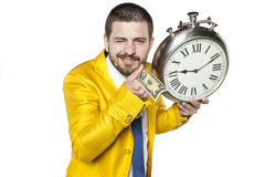 Businessman holds dollars in the hand Stock Photography