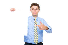 Businessman holds empty, blank card, copyspace Royalty Free Stock Photos