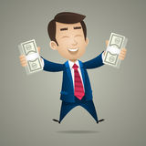 Businessman holds in hand dollar banknotes Stock Image
