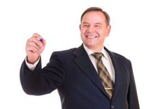 Businessman holds a marker Royalty Free Stock Images