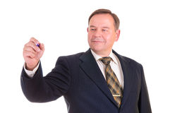 Businessman holds a marker Stock Photo