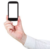 Businessman holds touchscreen phone Stock Photo
