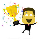 Businessman Holds Trophy Royalty Free Stock Photos