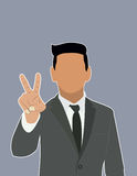 Businessman Holds two fingers black web icon. Royalty Free Stock Photos