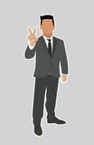 Businessman Holds two fingers black web icon. Stock Photography