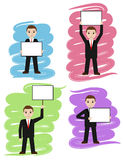 Businessman holds white board, signboard. Cartoon man showing empty copy space. Vector illustration Stock Photos