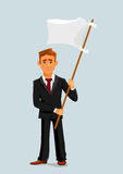 Businessman holds white flag of surrender Royalty Free Stock Photo