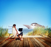 Businessman Holiday Working Business Travel Beach Concept Stock Photos